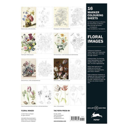 16 Marker Colouring Sheets, Floral Images