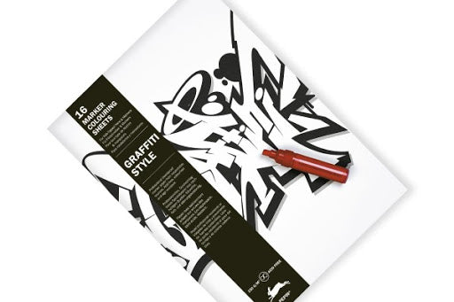 16 Marker Colouring Sheets, Graffiti Style