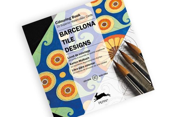 Card Colouring Book Barcelona Tile Designs