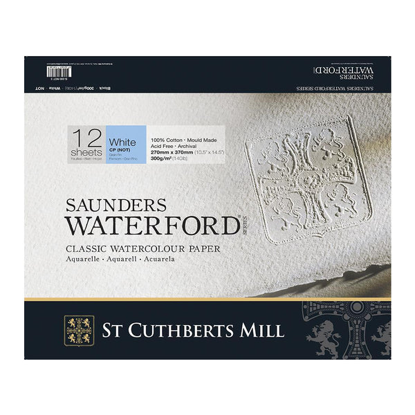 Saunders Waterford Classic Watercolour Paper Block, Cold Pressed White 300gsm 12 Sheets