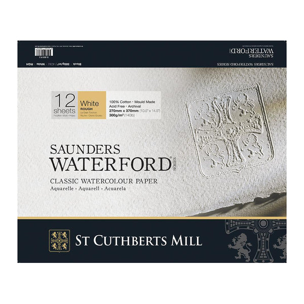 Saunders Waterford Classic Watercolour Paper Block, Rough White 300gsm 12 Sheets