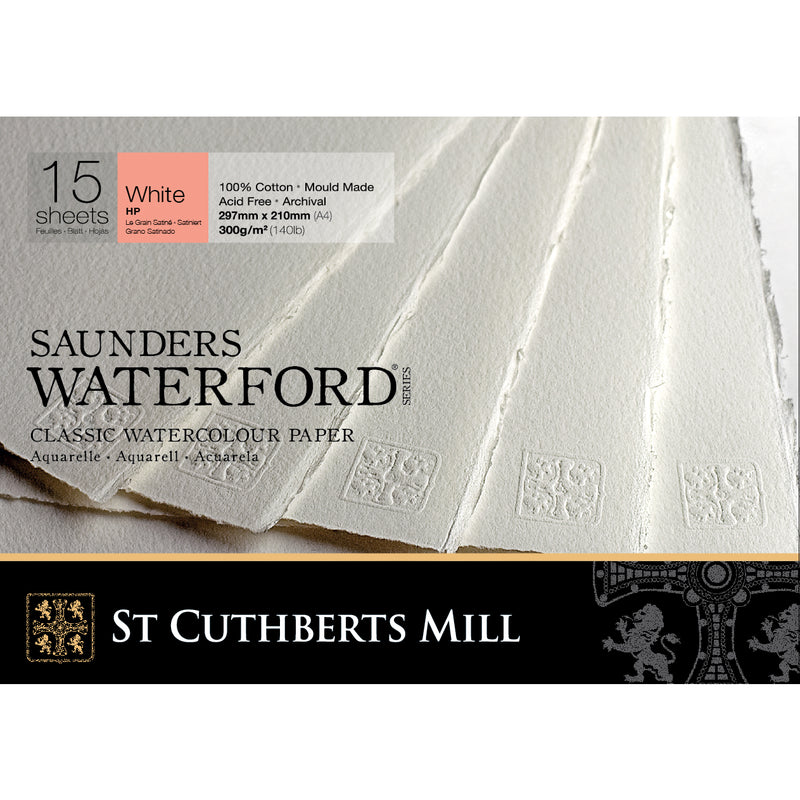 Saunders Waterford Classic Watercolour Paper Pad, Hot Pressed White 300gsm 15 Sheets