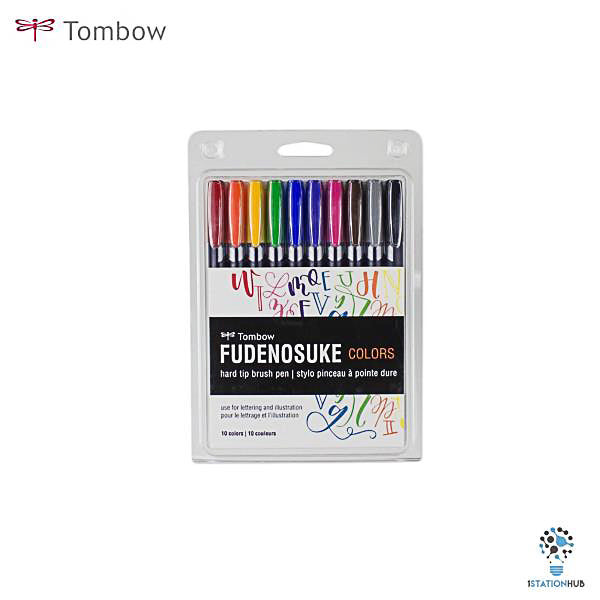 Tombow Fudenosuke Hard Tip Brush Pen Set of 10