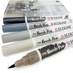 Ecoline Brush Pen Set 5pc – Grey