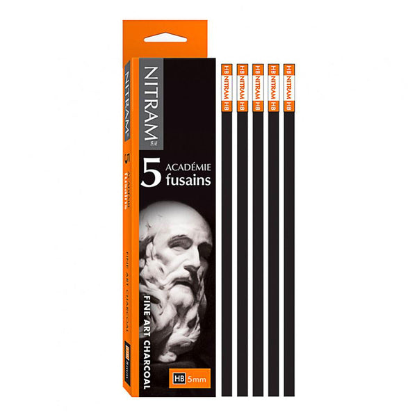 Nitram Académie Fusains Square stick Charcoal - HB Pack of 5