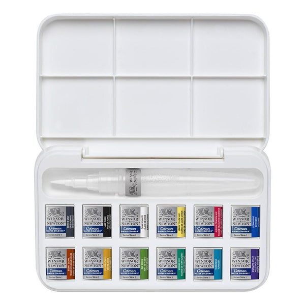 Winsor & Newton Cotman Half Pan And Brush Pen Set