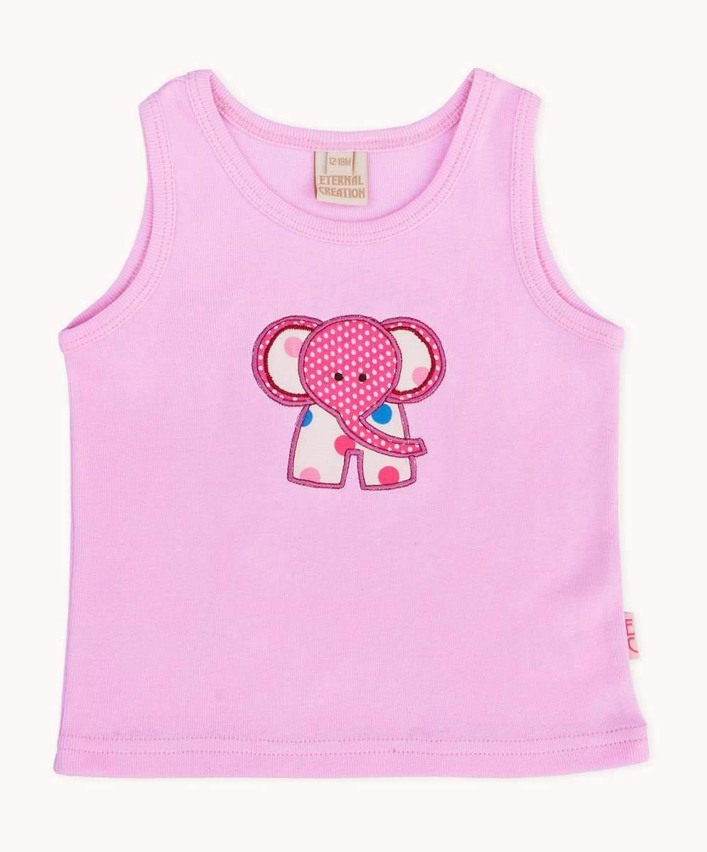 1d651dd5985 Cute Pink Elephant Embroidered Toddler Tee Baby Toddler Girls Summer ...