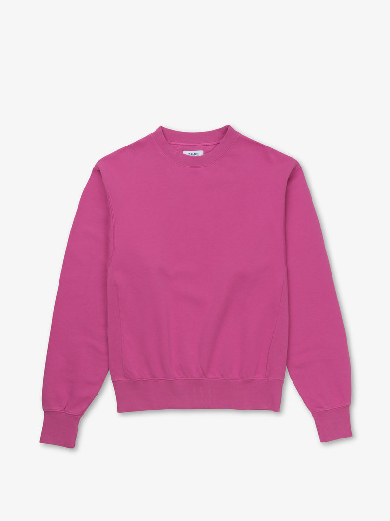 7 DAYS Oversized Monday Crew Neck Sweatshirts 123 Fuchsia Pink