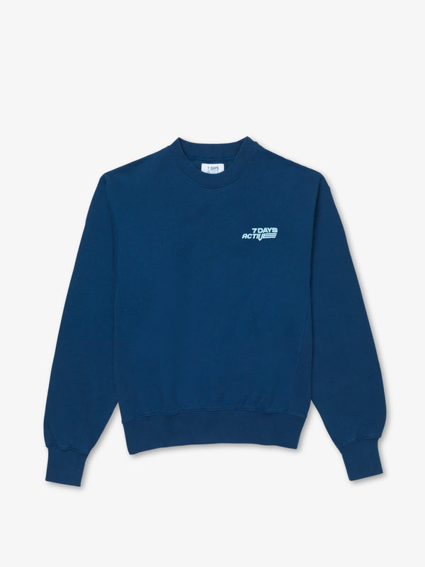 7 DAYS Oversized Monday Crew Neck Sweatshirts 318 Estate Blue