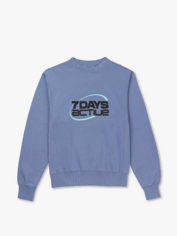 7 DAYS Oversized Monday Crew Neck Sweatshirts 325 Ice Blue