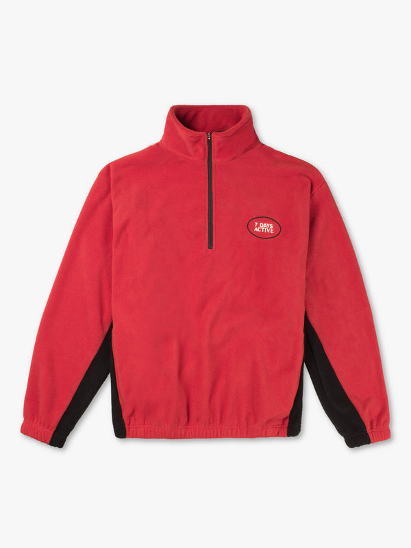 7 DAYS Fleece pullover/ Half Zip Shirts 110 Red/black