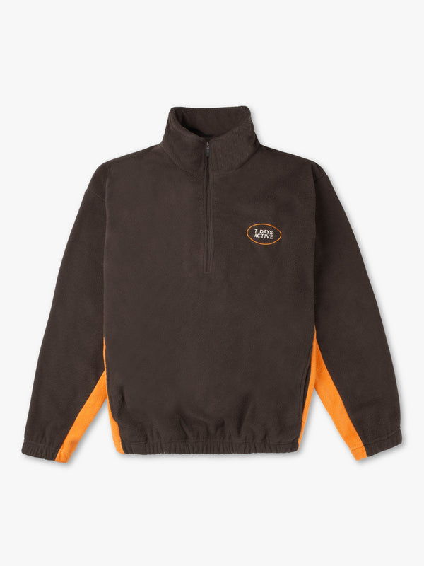 7 DAYS Fleece pullover/ Half Zip Shirts 521 Dark brown/orange