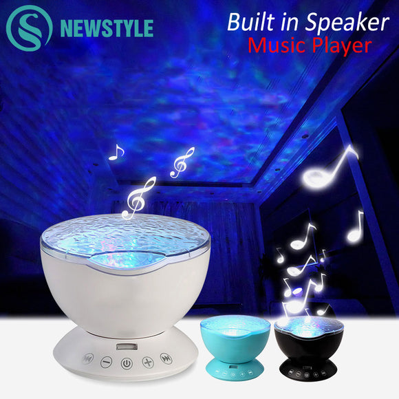 7 Color LED Night Light Starry Sky Remote Control Ocean Wave Projector with Music