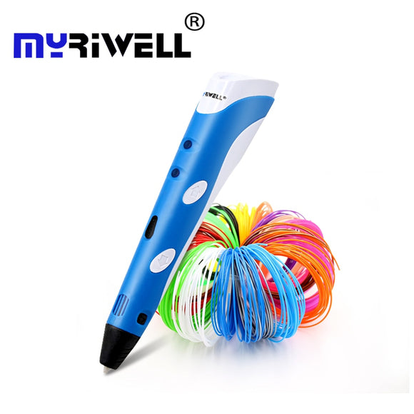 Original Myriwell 3D printing pen1.75mm ABS Smart 3d drawing pens+Free Filament+transparent PC soft drawing board 5 free gifts