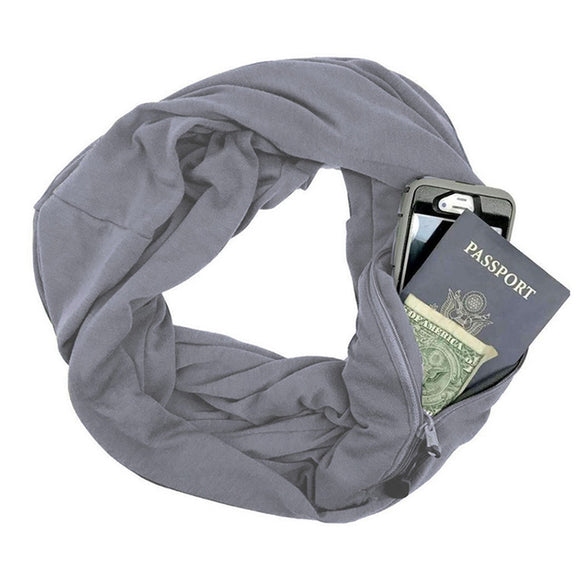 Infinity Pocket Scarf with Portable Hidden Zipper Pocket