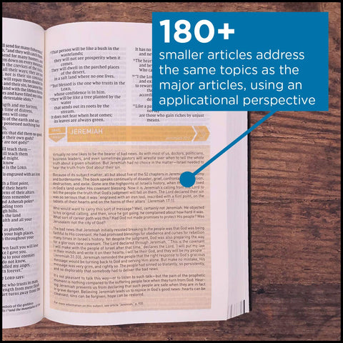 Storyline Bible: Over 180 smaller articles address the same topics as the major articles, using an applicational perspective