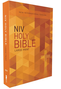 NIV, Outreach Bible, Large Print, Paperback, Orange Cross | ChurchSource