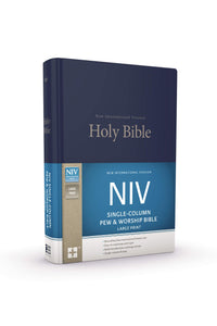 NIV, Single-Column Pew and Worship Bible, Large Print, Hardcover, Blue