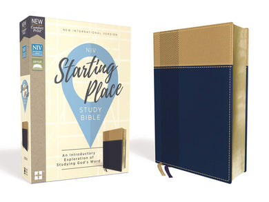 NIV, Starting Place Study Bible, Leathersoft, Navy/Tan, Thumb Indexed, Comfort Print: An Introductory Exploration of Studying God's Word