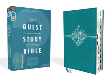 NIV, Quest Study Bible, Leathersoft, Teal, Thumb Indexed, Comfort Print: The Only Q and A Study Bible by Christianity Today Intl.