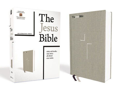 The Jesus Bible, NIV Edition, Cloth over Board, Gray Linen, Comfort Print by Passion and Louie Giglio