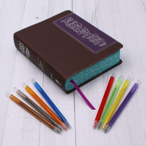 NIV, Beautiful Word Coloring Bible and 8-Pencil Gift Set, Leathersoft, Brown/Purple: Hundreds of Verses to Color | ChurchSource