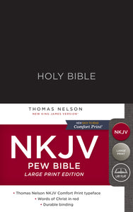 NKJV, Pew Bible, Large Print, Hardcover, Black, Red Letter Edition, Comfort Print: Holy Bible, New King James Version