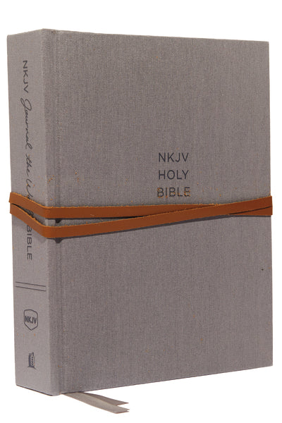 NKJV, Journal the Word Bible, Cloth over Board, Gray, Red Letter Edition, Comfort Print: Reflect, Journal, or Create Art Next to Your Favorite Verses