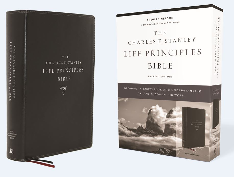 NASB, Charles F. Stanley Life Principles Bible, 2nd Edition, Leathersoft, Black, Comfort Print: Holy Bible, New American Standard Bible