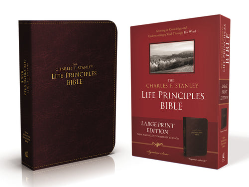 NASB, The Charles F. Stanley Life Principles Bible, Large Print, Leathersoft, Burgundy: Large Print Edition by Charles F. Stanley (personal)