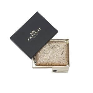 Cartera Coach Chica Boxed Zip Around Wallet With Star Glitter Gold / Silver
