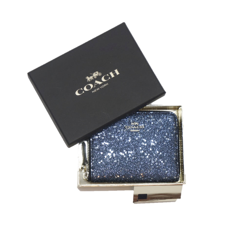 Cartera Coach Chica Boxed Zip Around Wallet With Star Glitter Midnight / Silver