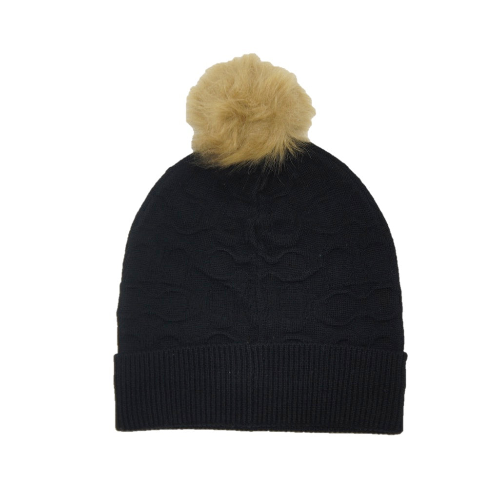 Gorro Coach Embossed Signature Knit Black