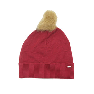 Gorro Coach Embossed Signature Knit Bright Red
