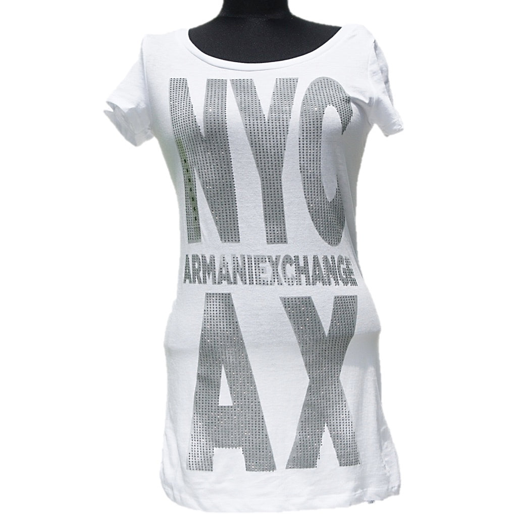 Playera Armani Exchange White Gigant Logo
