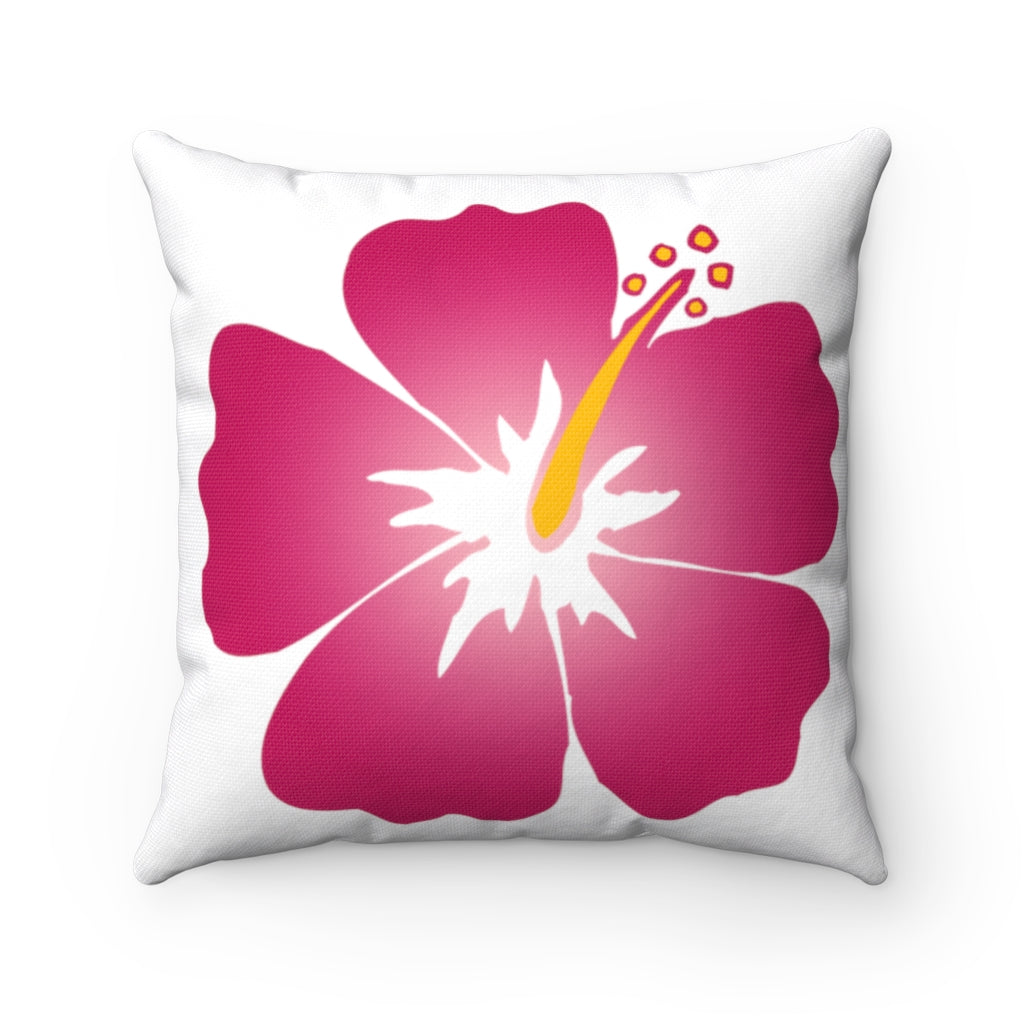 Spun Polyester Square Pillow Red Flower