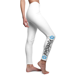 Women's Cut & Sew Casual Leggings Blue Flower