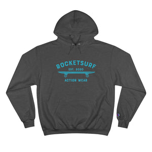 Champion Hoodie - RocketSurf Skate Club Light Blue Lettering