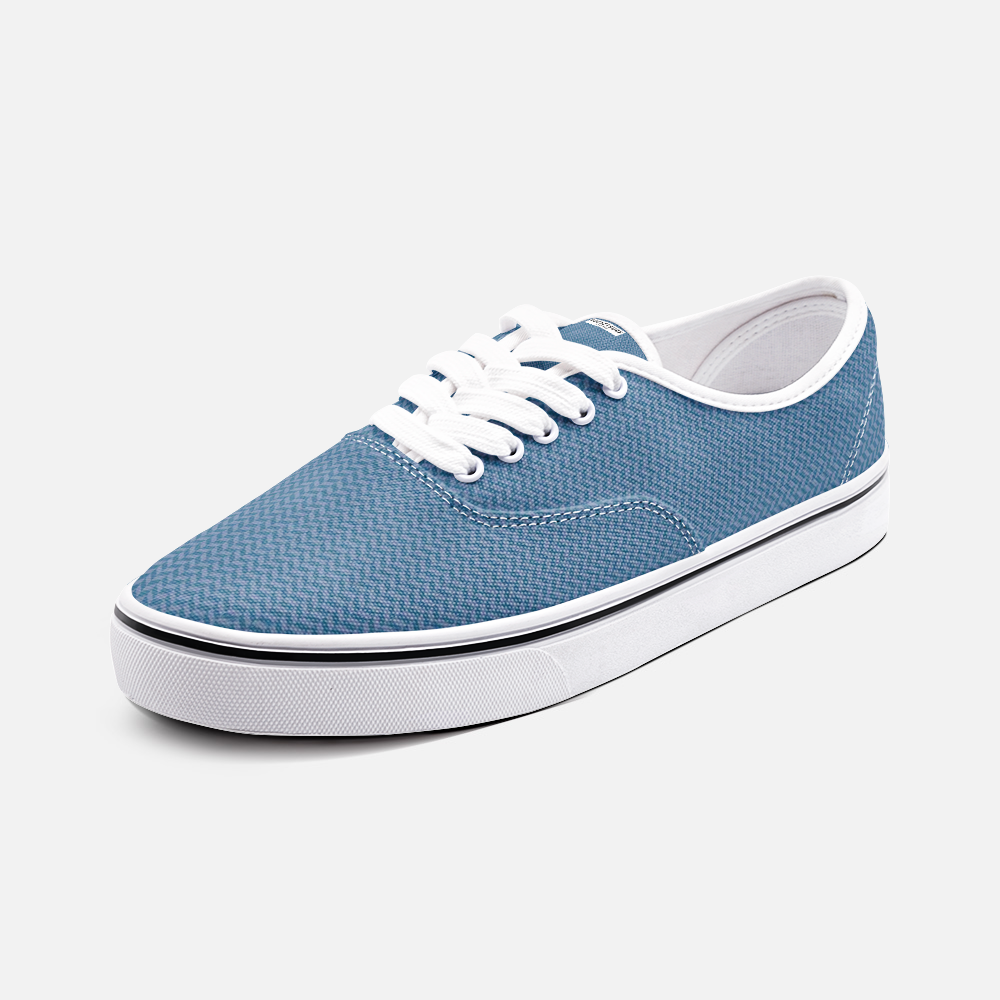 Unisex Canvas Low Cut Loafer Sneakers - Blue Herringbone