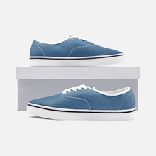 Load image into Gallery viewer, Unisex Canvas Low Cut Loafer Sneakers - Blue Herringbone