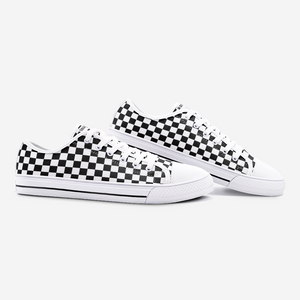 Unisex Low Top Canvas Shoes - Checkerboard