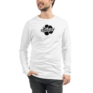 Unisex Long Sleeve Tee Black Flower