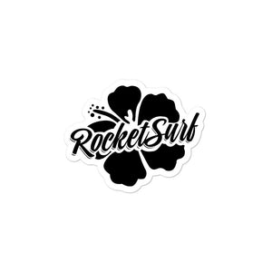 Surfboard Waterproof Vinyl Sticker - Black Flower