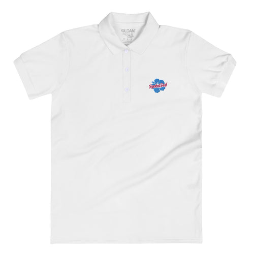 Embroidered Women's Polo Shirt Blue Flower