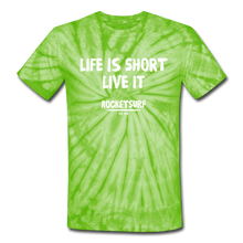 Carica l'immagine nel visualizzatore di Gallery, Unisex Tie Dye T-Shirt - Life Is Short Live it - spider lime green