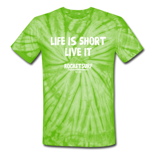 Unisex Tie Dye T-Shirt - Life Is Short Live it - spider lime green