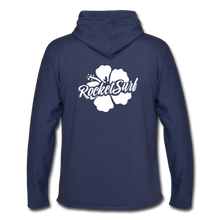 Load image into Gallery viewer, Unisex Lightweight Terry Hoodie - White Flower - heather navy