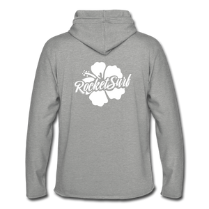 Unisex Lightweight Terry Hoodie - White Flower - heather gray