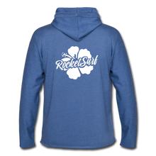 Load image into Gallery viewer, Unisex Lightweight Terry Hoodie - White Flower - heather Blue