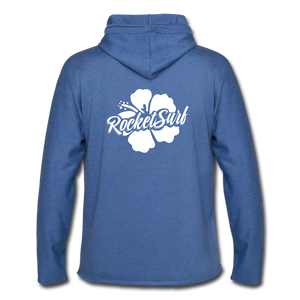 Unisex Lightweight Terry Hoodie - White Flower - heather Blue
